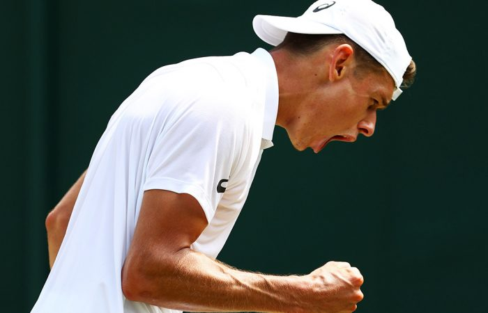 Alex De Minaur in action during his second-round win over Pierre-Hugues Herbert at Wimbledon; Getty Images