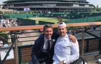 Dylan Alcott (R) and Todd Woodbridge at Wimbledon.