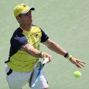 Matt Ebden in action during his second-round win over Donald Young at the ATP event in Atlanta; Getty Images