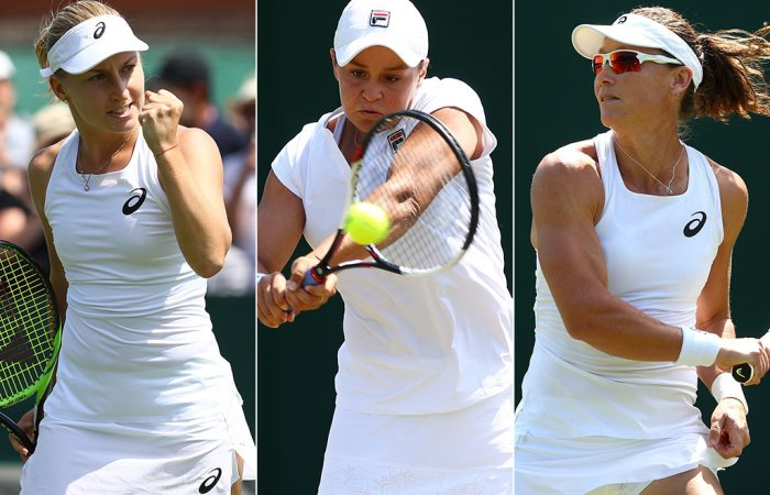 (L-R) Daria Gavrilobva, Ash Barty and Sam Stosur will all straight-sets winners in the first round at Wimbledon on Day 2; Getty Images