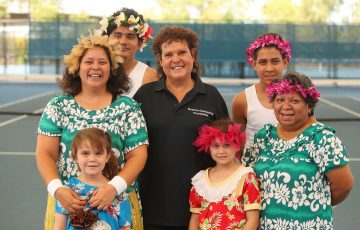 DARWIN, AUSTRALIA - JULY 30:  Evonne Goolagong Cawley poses with members of Upai Purri during the National Indigenous Tennis Carnival Launch at Darwin International Tennis Centre on July 30, 2018 in Darwin, Australia.  (Photo by Graham Denholm/Getty Images)