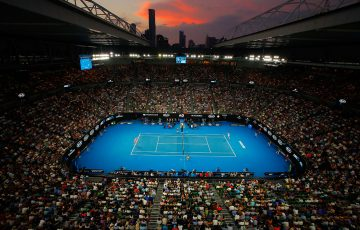 MELBOURNE, AUSTRALIA - JANUARY 25:  A general view of Rod Laver Arena at sunset during the semi-final match between Marin Cilic of Croatia and Kyle Edmund of Great Britain on day 11 of the 2018 Australian Open at Melbourne Park on January 25, 2018 in Melbourne, Australia.  (Photo by Scott Barbour/Getty Images)