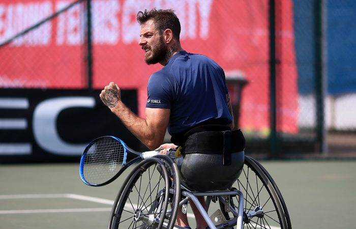 Heath Davidson in action at the British Open Wheelchair Tennis Championships, where he reached the semifinals; Getty Images