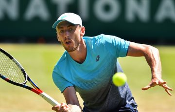 John Millman in action at the Wimbledon lead-up event in Eastbourne; Getty Images