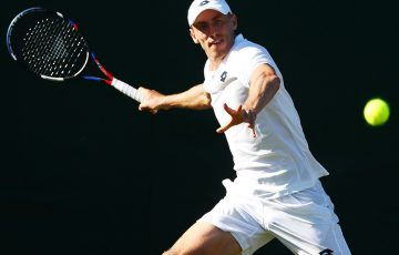 John Millman in action during his first-round victory at Wimbledon; Getty Images