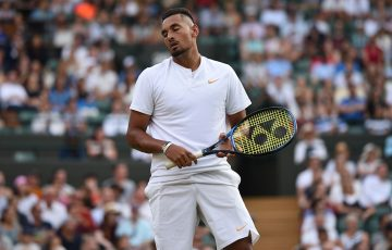 Nick Kyrgios in action during his third-round loss to Kei Nishikori at Wimbledon; Getty Images