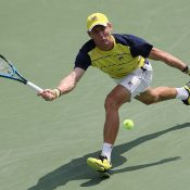Matt Ebden in action during his quarterfinal victory over Marcos Baghdatis at the Atlanta Open; Getty Images