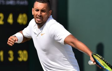 Nick Kyrgios is pumped up as he scores the decisive break in the fourth set during his first-round win over Denis Istomin at Wimbledon; Getty Images