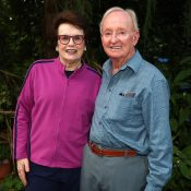Billie Jean King (L) and Rod Laver at the annual Tennis Australia barbecue, 50 years on since winning the 1968 Wimbledon singles titles; Getty Images