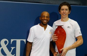 John Patrick Smith (R) and Nicholas Monroe pose with their trophy after winning the ATP doubles title in Atlanta; Getty Images