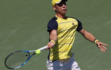 ATLANTA, GA - JULY 28:  Matthew Ebden of Australia returns a forehand to John Isner during the BB&T Atlanta Open at Atlantic Station on July 28, 2018 in Atlanta, Georgia.  (Photo by Kevin C. Cox/Getty Images)