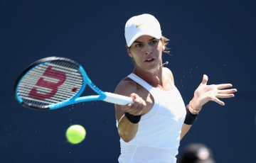 Ajla Tomljanovic in action during her second-round victory over Magdalena Frech at the Silicon Valley Classic in San jose; Getty Images