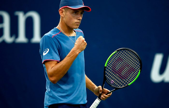 Alex De Minaur in action during his first-round win over Taro Daniel at the US Open; Getty Images