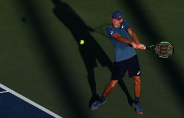 Alex De Minaur in action during his second-round win over Frances Tiafoe at the US Open; Getty Images