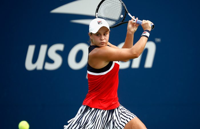 Ash Barty plays a backhand during her first-round victory over Ons Jabeur at the US Open; Getty Images
