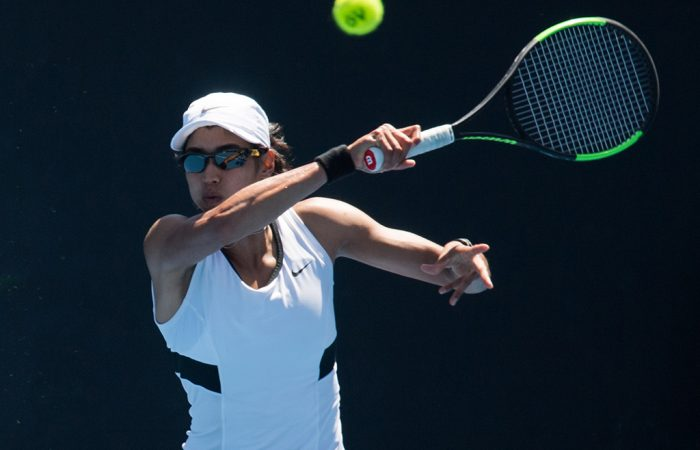 Astra Sharma plays a forehand (photo credit: Elizabeth Xue Bai)