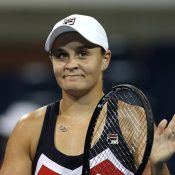 Ash Barty celebrates her second-round win over Lucie Safarova at the US Open; Getty Images
