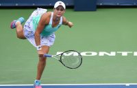 Ash Barty in action during her first-round win over Irina-Camelia Begu at the Coupe Rogers in Montreal; Getty Images