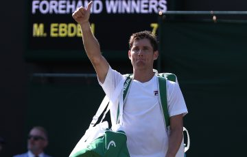 Matt Ebden celebrates his victory over David Goffin in the first round at Wimbledon; Getty Images