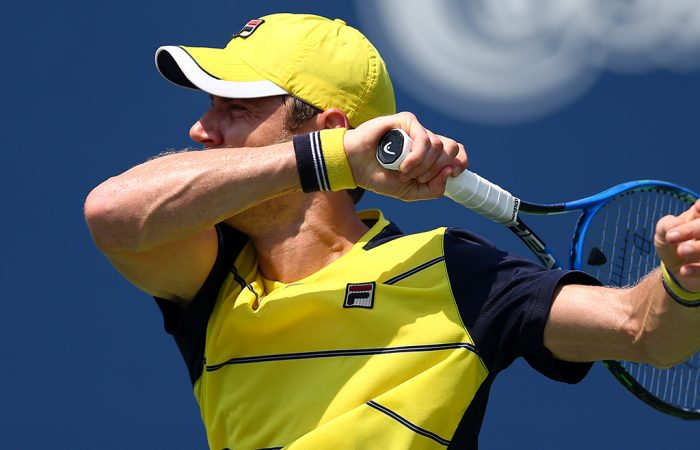 Matt Ebden plays a forehand during his first-round loss to Peter Polansky at the Rogers Cup in Toronto; Getty Images