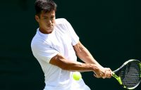 Jason Kubler in action at Wimbledon, where he qualified for the main draw; Getty Images