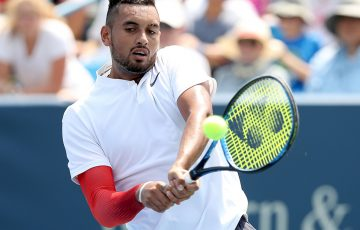 Nick Kyrgios in action during his first-round win over Denis Kudla at the Cincinnati Masters; Getty Images