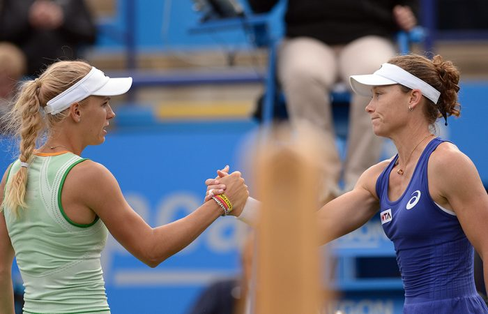 Sam Stosur (R) and Caroline Wozniacki will meet for the 13th time when they play in the first round at the US Open; Getty Images