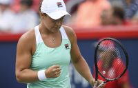 MONTREAL, QC - AUGUST 10: Ashleigh Barty of Australia reacts after scoring a point against Kiki Bertens of the Netherlands during day five of the Rogers Cup at IGA Stadium on August 10, 2018 in Montreal, Quebec, Canada. (Photo by Minas Panagiotakis/Getty Images)