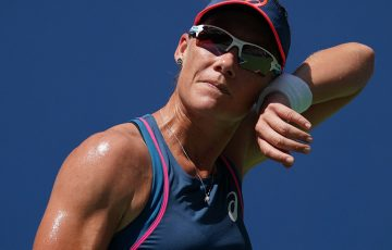 Samantha Stosur of Australia reacts against Caroline Wozniacki of Denmark  during their Day 2 2018 US Open Women's Singles match at the USTA Billie Jean King National Tennis Center in New York on August 28, 2018. (Photo by TIMOTHY A. CLARY / AFP)        (Photo credit should read TIMOTHY A. CLARY/AFP/Getty Images)