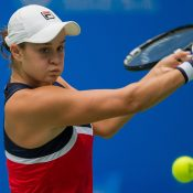 Ash Barty in action at the WTA Wuhan Open; Getty Images