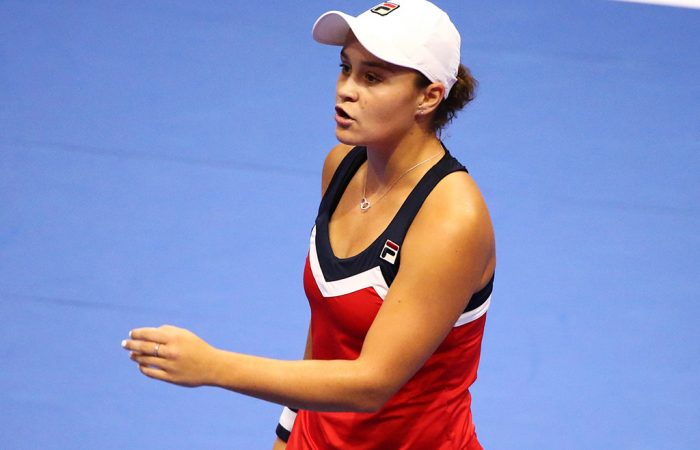 Ash Barty reacts during her second-round loss to Victoria Azarenka at the Toray Pan Pacific Open in Tokyo; Getty Images