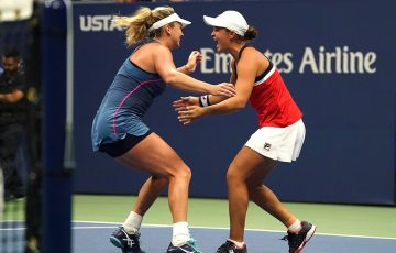 Ash Barty (R) and CoCo Vandeweghe celebrate their victory in the US Open doubles final; Getty Images