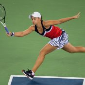 Ashleigh Barty of Australia hits a return against Angelique Kerber of Germany during their women's singles third round match of the WTA Wuhan Open tennis tournament in Wuhan on September 26, 2018. (Photo by Nicolas ASFOURI / AFP)        (Photo credit should read NICOLAS ASFOURI/AFP/Getty Images)
