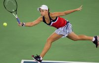 Ash Barty in action during her third-round win over Angelique Kerber at the WTA Wuhan Open; Getty Images