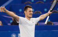 Bernard Tomic celebrates his victory over Joao Sousa in the semifinals of the ATP Chengdu Open; Getty Images