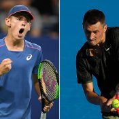 Alex De Minaur (L) and Bernard Tomic have advanced to ATP hardcourt semifinals in China; Getty Images