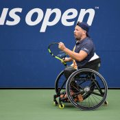 Dylan Alcott in action at the 2018 US Open; USTA