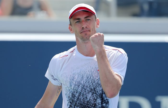 NEW YORK, NY - SEPTEMBER 01:  John Millman of Australia celebrates a point during his men's singles third round match against Mikhail Kukushkin of Kazakhstan on Day Six of the 2018 US Open at the USTA Billie Jean King National Tennis Center on September 1, 2018 in the Flushing neighborhood of the Queens borough of New York City.  (Photo by Elsa/Getty Images)