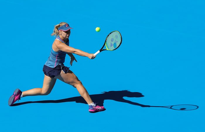 GOT IT COVERED: Daria Gavrilova had all the answers against Petra Kvitova in the China Open first round; Getty Images