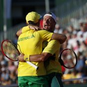 Lleyton Hewitt (R) and John Peers celebrate victory against Oliver Marach and Jurgen Melzer in Australia's Davis Cup World Group Play-off tie against Austria in Graz; Getty Images