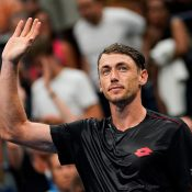 John Millman celebrates his victory over Roger Federer at the US Open; Getty Images