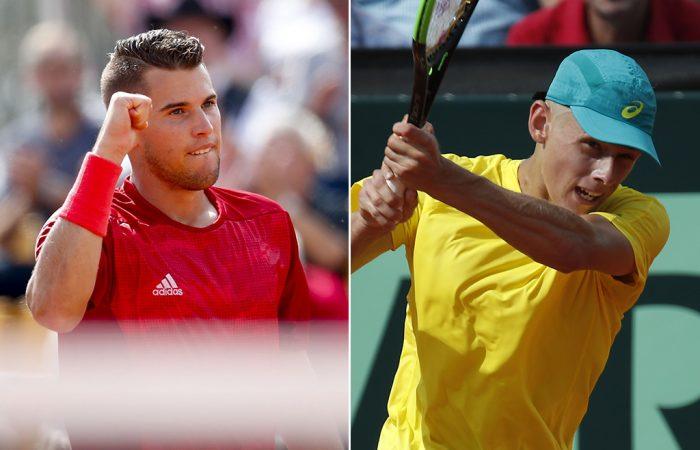 Dominic Thiem (L) and Alex De Minaur in Davis Cup action; Getty Images