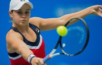 Ashleigh Barty of Australia hits a return against Anastasia Pavlyuchenkova of Russia during their women's singles quarter-final match at the WTA Wuhan Open tennis tournament in Wuhan on September 27, 2018. (Photo by NICOLAS ASFOURI / AFP) (Photo credit should read NICOLAS ASFOURI/AFP/Getty Images)