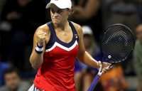 NEW YORK, NY - AUGUST 31: Ashleigh Barty of Australia reacts during her women's singles third round match against Karolina Muchova of Czech Republic on Day Five of the 2018 US Open at the USTA Billie Jean King National Tennis Center on August 31, 2018 in the Flushing neighborhood of the Queens borough of New York City. (Photo by Matthew Stockman/Getty Images)