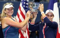 NEW YORK, NY - SEPTEMBER 09: Ashleigh Barty of Australia and Coco Vandeweghe of the United States pose with the championship trophy after winning the women's doubles final against Timea Babos of Hungary and Kristina Mladenovic of France on Day Fourteen of the 2018 US Open at the USTA Billie Jean King National Tennis Center on September 9, 2018 in the Flushing neighborhood of the Queens borough of New York City. (Photo by Al Bello/Getty Images)