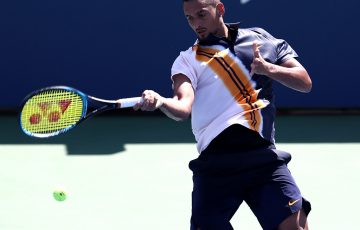 NEW YORK, NY - AUGUST 30:  Nick Kyrgios of Australia returns the ball during his men's singles second round match against Pierre-Hugues Herbert of France on Day Four of the 2018 US Open at the USTA Billie Jean King National Tennis Center on August 30, 2018 in the Flushing neighborhood of the Queens borough of New York City.  (Photo by Al Bello/Getty Images)