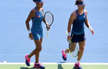 NEW YORK, NY - SEPTEMBER 05: Samantha Stosur of Australia and Shuai Zhang of China during their women's doubles quarter-final match against Anastasia Pavlyuchenkova of Russia and partner Anastasija Sevastova of Latvia on Day Ten of the 2018 US Open at the USTA Billie Jean King National Tennis Center on September 5, 2018 in the Flushing neighborhood of the Queens borough of New York City.  (Photo by Sarah Stier/Getty Images)