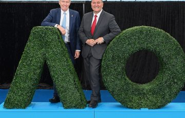 MELBOURNE, AUSTRALIA - OCTOBER 09:  Australian Open Tournament Director and Tennis Australia CEO Craig Tiley and the Hon. Victorian Minister for Sport, Tourism and Major Events John Eren MP pose during the 2019 Australian Open Official Launch at Melbourne Park on October 9, 2018 in Melbourne, Australia.  (Photo by Quinn Rooney/Getty Images)