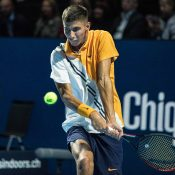Alexei Popyrin in action at the ATP Swiss Indoors in Basel; Getty Images