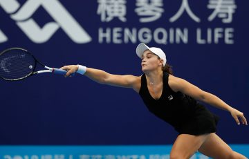 Ash Barty in action against Aryna Sabalenka at the WTA Elite Trophy in Zhuhai; Getty Images